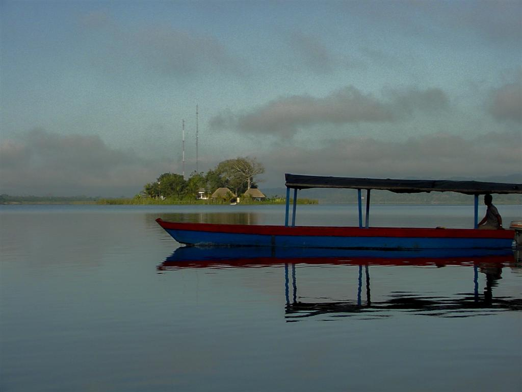 Water taxi in Flores, Gutemala